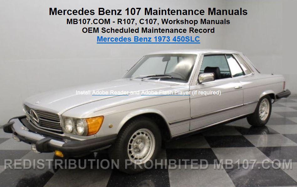 mercedes benz 107 maintenance manuals rh mb107 com 1979 Mercedes 450SL 1978 Mercedes 450SL