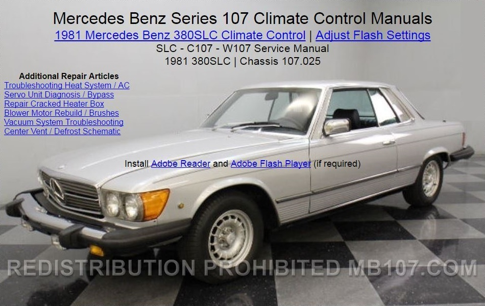 mercedes benz 107 climate control heat ac air condition