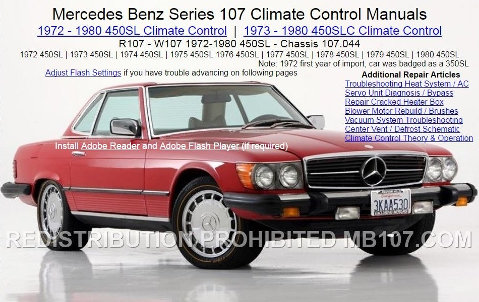 Mercedes 450SL Heat AC Climate Control Manual