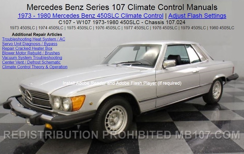 Mercedes 450SLC Heat AC Climate Control Manual