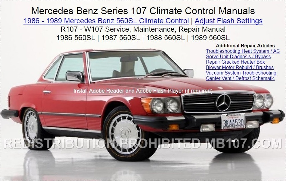 mercedes benz 107 climate control heat ac air condition manuals rh mb107 com