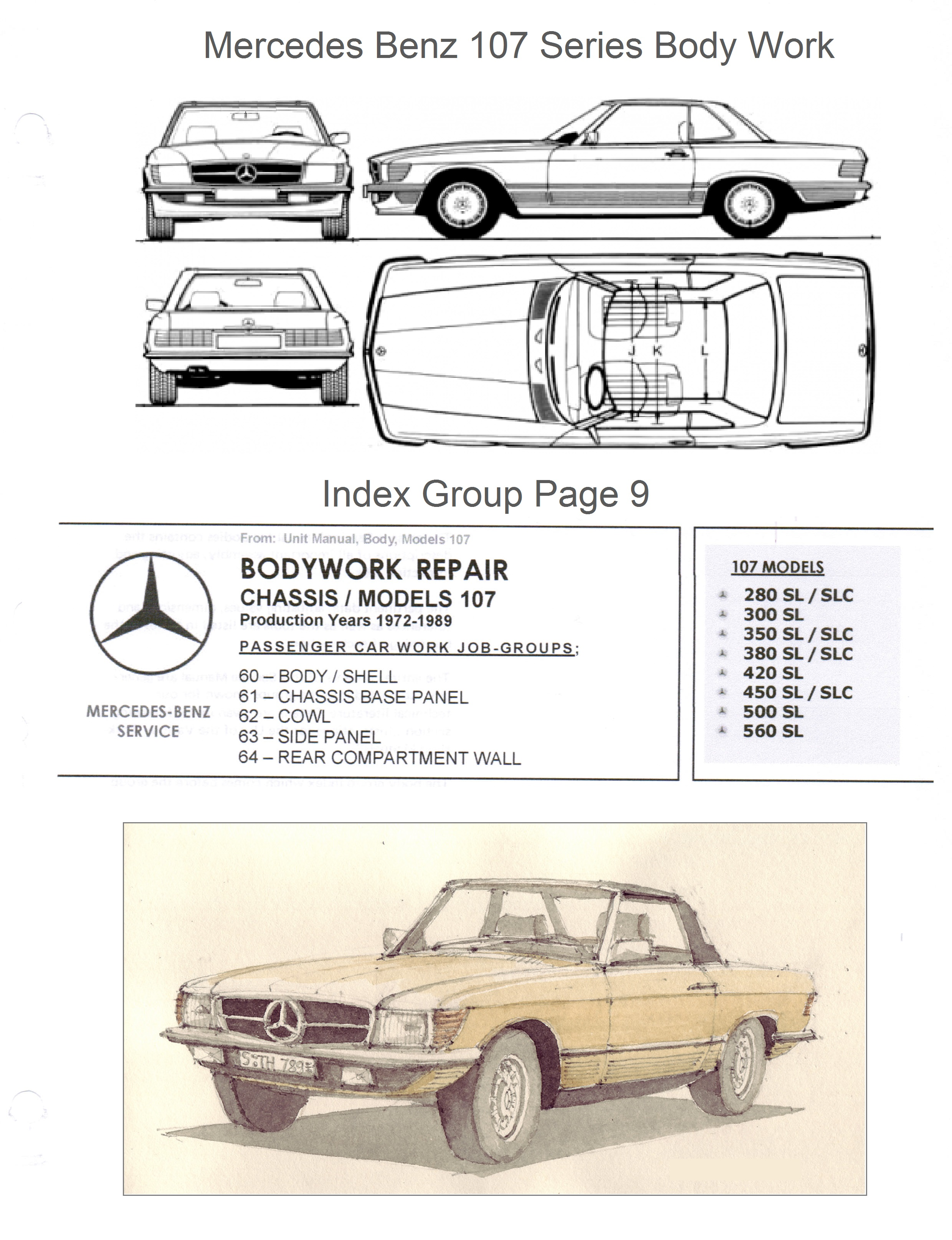 Mercedes R107 Repair Manual 1987 300d Alternator Wiring Diagram Benz 107 Bodywork And Frame On Cd 380 380sl 450 Rh Mb107 Com Download Owners Pdf