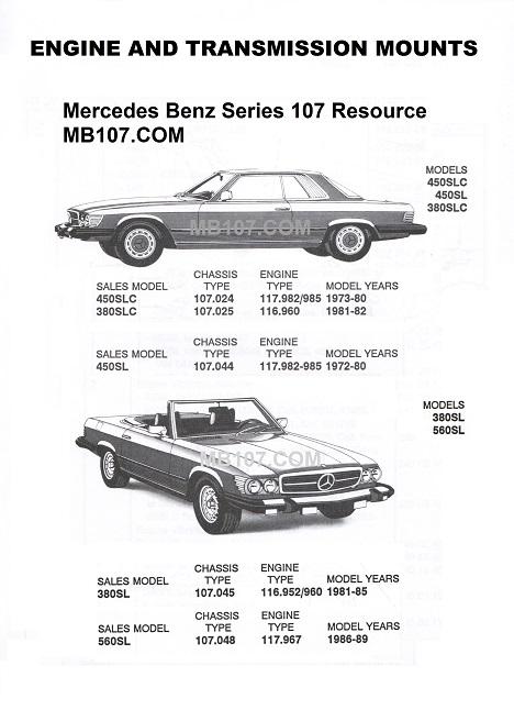 mercedes 107 engine transmission mounts manual