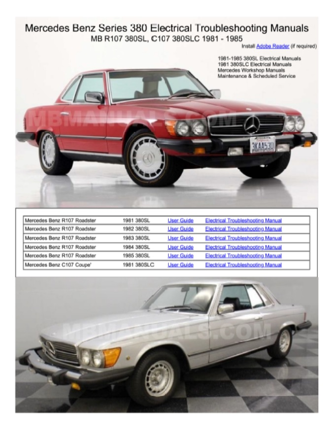 Mercedes Benz 107 Electrical Troubleshooting Manuals