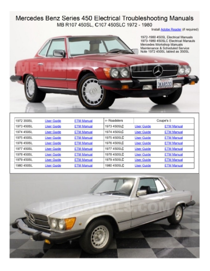 Mercedes Benz 107 Electrical Troubleshooting Manuals | Mb 380sl Wiring Diagram |  | Mercedes Benz 107 Workshop Repair Manuals R107 SL C107 SLC