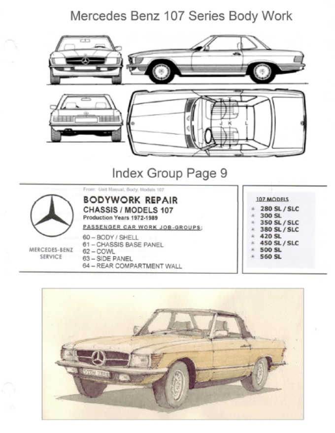 Mercedes Benz 107 Bodywork And Frame Manual  380 380sl 450